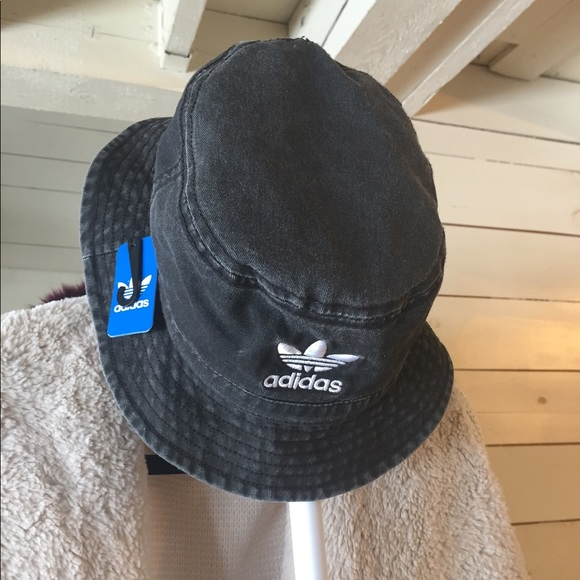 4fd4c22943f Adidas original black denim bucket hat NWT
